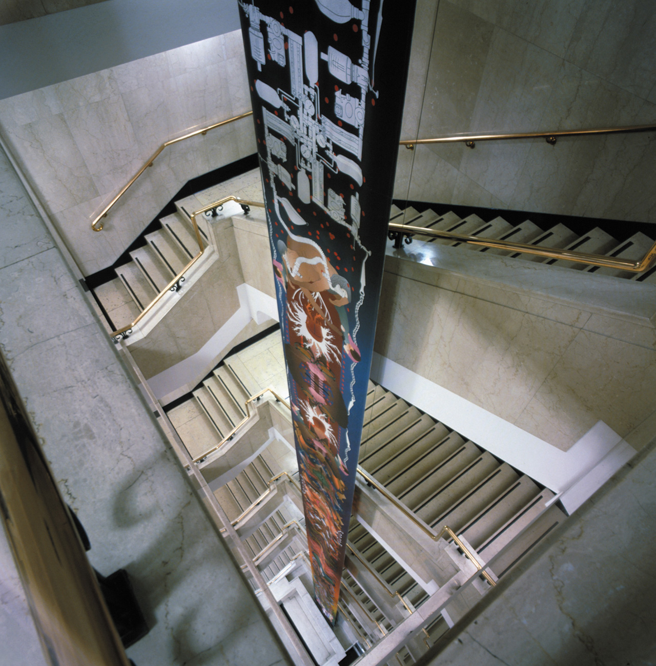 Double-sided print on fiberglass fabric | 2500 x 120 cm | Installation view, The Wellcome Trust Building, London | 2001