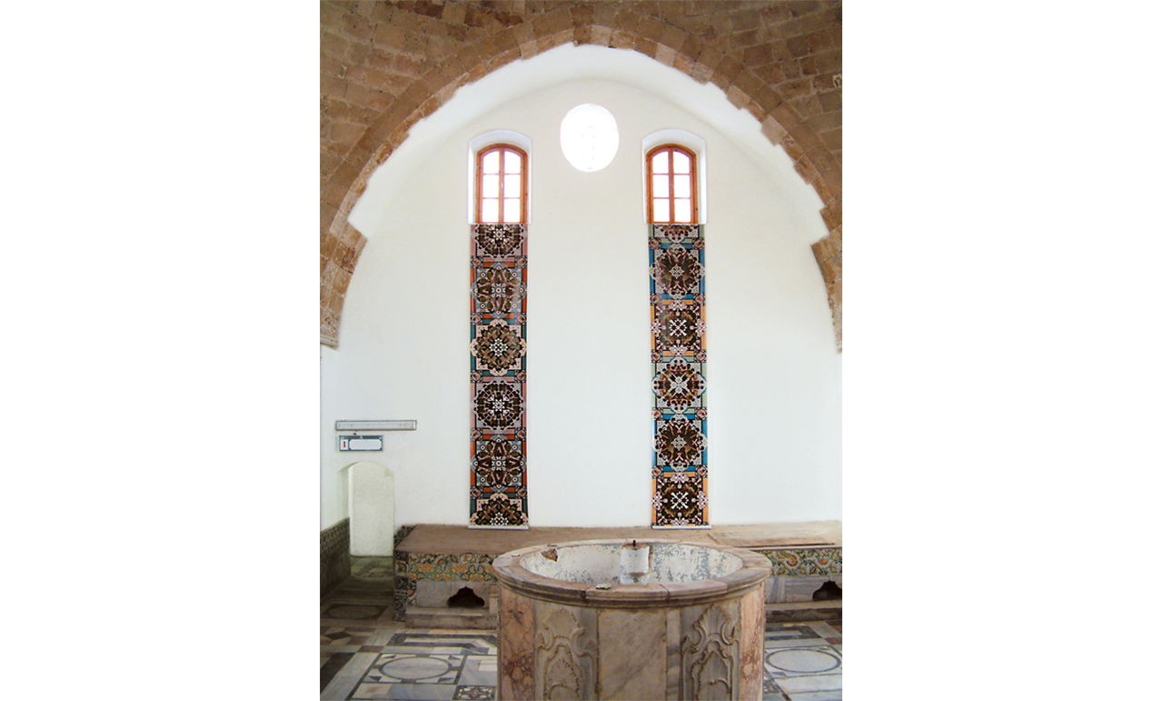 2 prints on PVC | 700 x 90 cm each | Installation view, The Turkish Hammam / The Acre Festival, Acre | 2002
