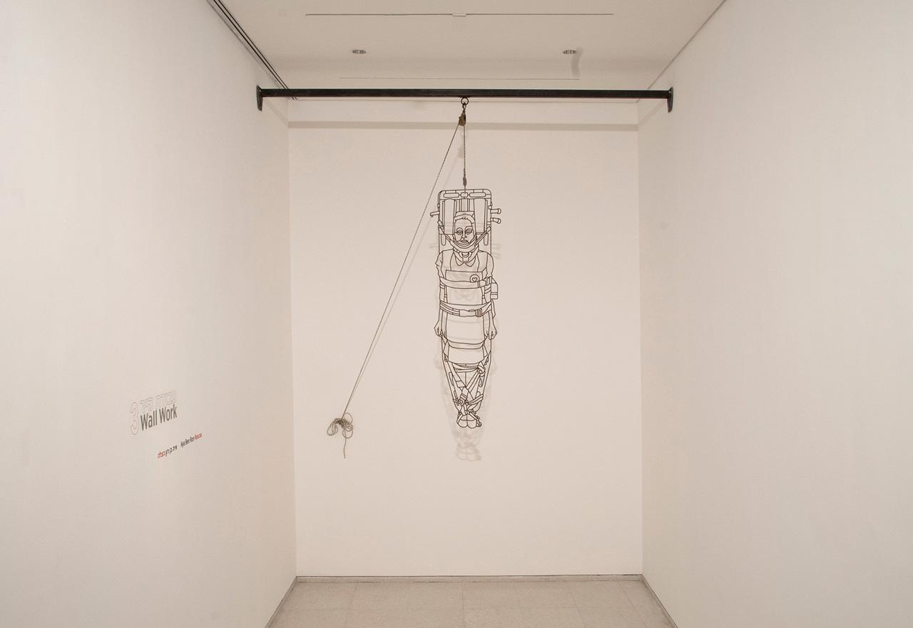 Mild-steel, hook, rope | Screen | Installation Views, Israel Museum | 2012