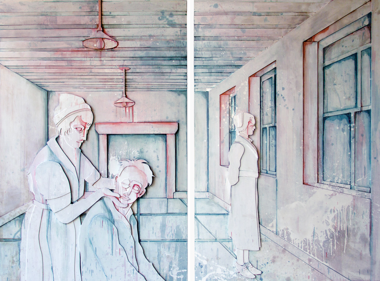 Sisters 1-2 | Detail | Mixed media on plywood, diptych | 160 x 240 x 10.5 cm each